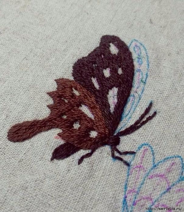 Вышивка гладью Бабочка (2) (605x700, 333Kb)