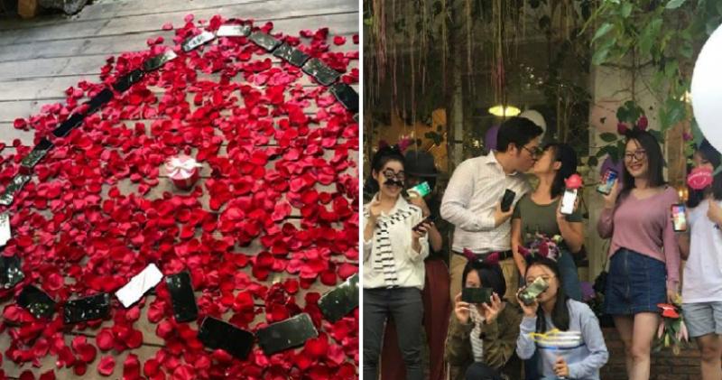 Китаец выложил сердце из 25 iPhone X, чтобы сделать предложение девушке, и она согласилась