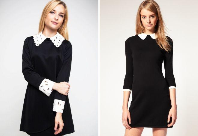 строгое черное платье с белым воротником