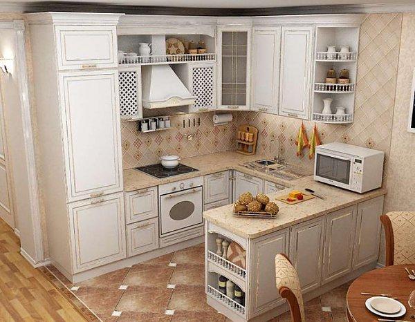 Белая П-образная кухня