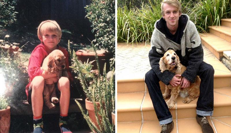 Выросли вместе: собаки и их хозяева в начале дружбы и через много лет