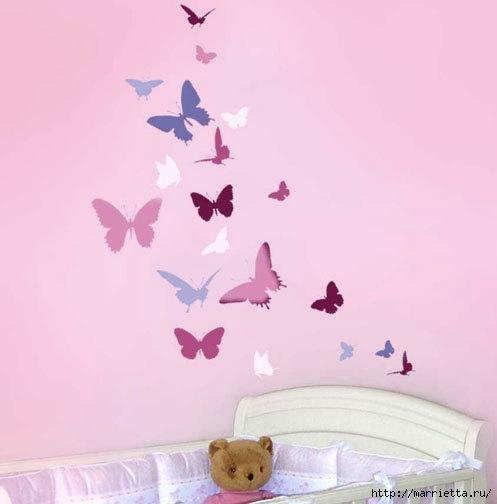 Порхающие бабочки в интерьере. Трафареты для стен и потолка (28) (497x504, 63Kb)