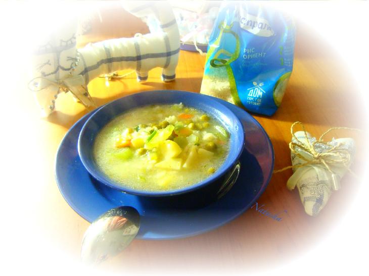 Зимний витаминный суп с рисом,сельдереем и брынзой
