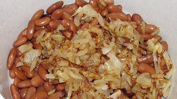 салатик с фасолью и грибами