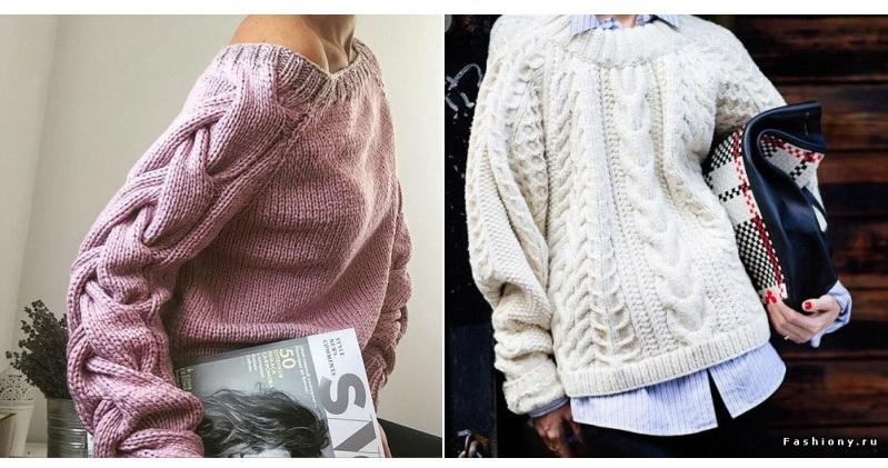 Вязанье свитера с косами