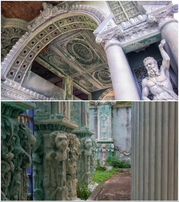 Великолепные скульптуры и декор особняка значительно отличается от архитектурного стиля, распространенного в Таиланде (Dolphin Bay Mansion).
