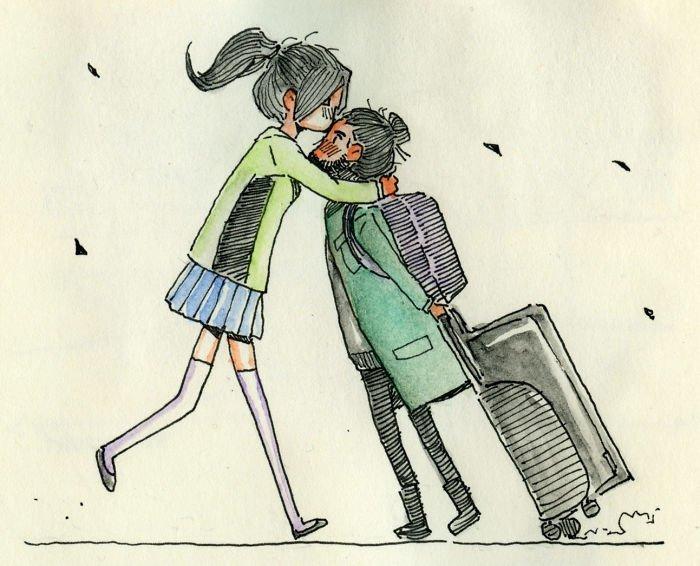 Первый поцелуй Любовь, история, комикс, любовь на расстоянии, рисунки, романтика, творчество, художник