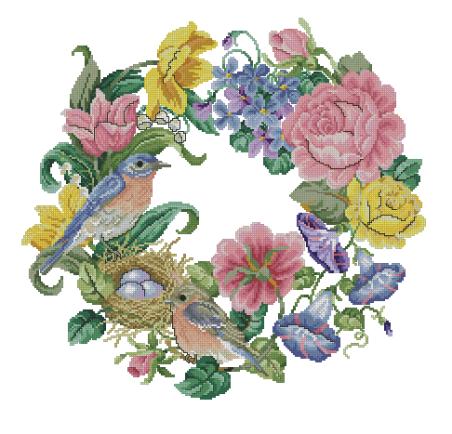 Вышивка «Цветочный венок с птицами»