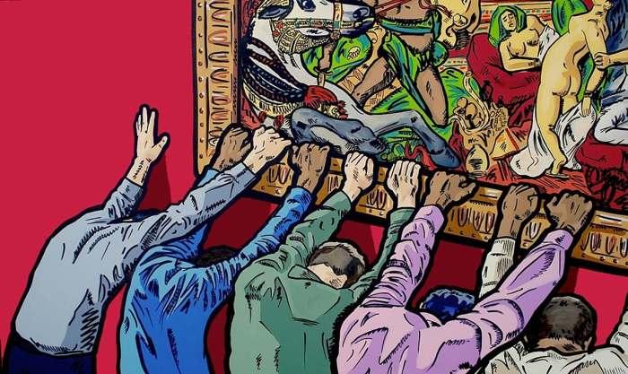 Философски-саркастические рассказы о современном обществе на ярких иллюстрациях современного художника