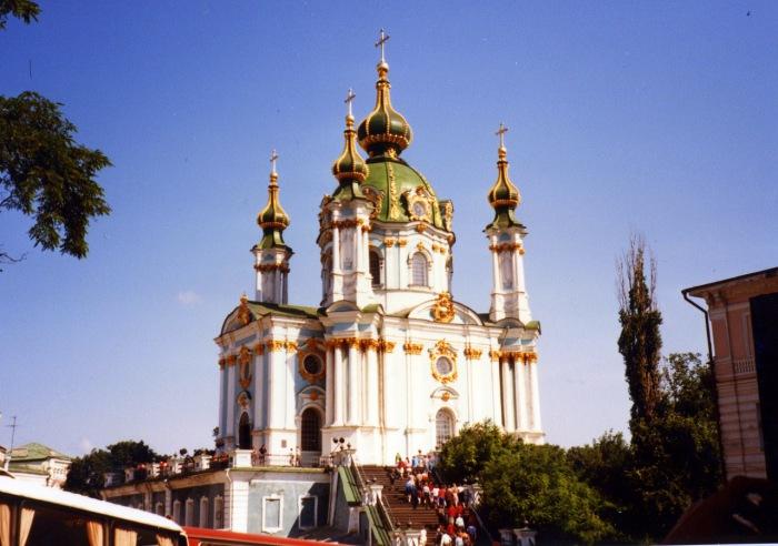 Православный храм в честь апостола Андрея Первозванного. СССР, Киев, 1985 год.