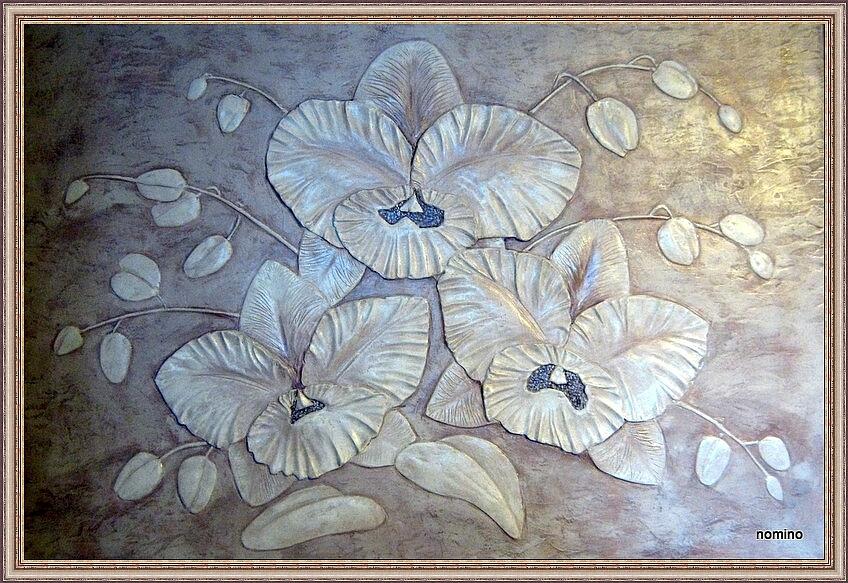 Орхидеи (барельеф, роспись)