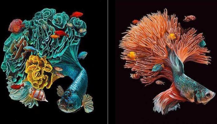 Удивительно гиперреалистичные картины с рыбами художницы Лизы Эриксон.