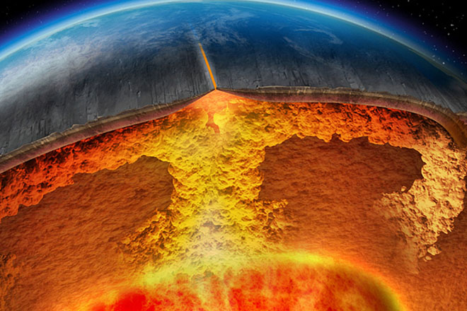 Computer-generated imagery depicting the perpetual convection of hot plumes of rock from the earth