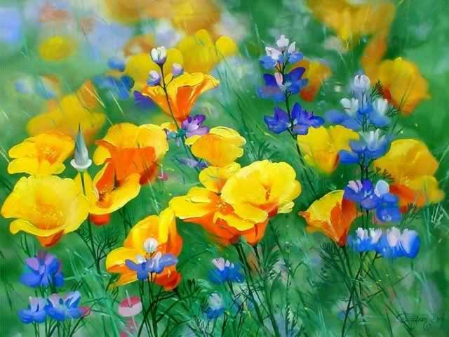 Фото рисованных цветов маслом