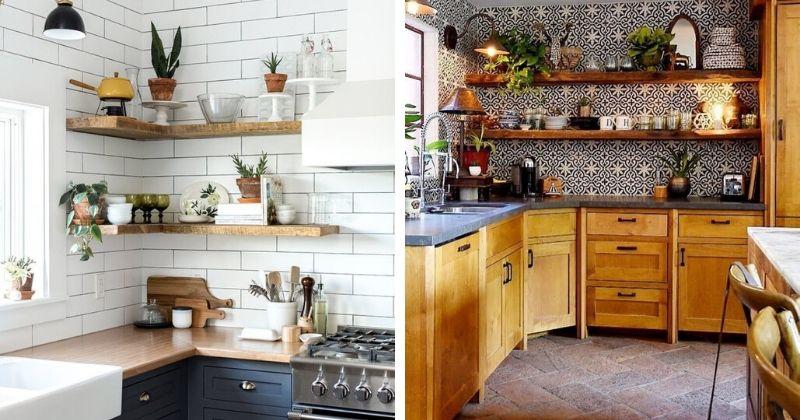 Нетривиальные идея для кухни — стильные открытые полки на стену