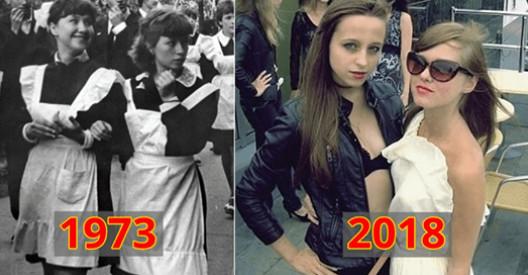 15 фото о том, как изменились платья выпускниц за последние 40 лет...