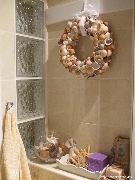 Красота из ракушек для интерьера ванной комнаты 15099