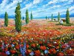 Живопись маслом - картины мастихином: Цветочное поле красных маков.