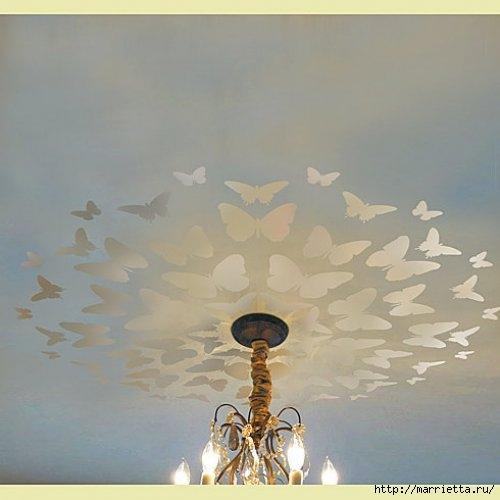 Порхающие бабочки в интерьере. Трафареты для стен и потолка (40) (500x500, 85Kb)