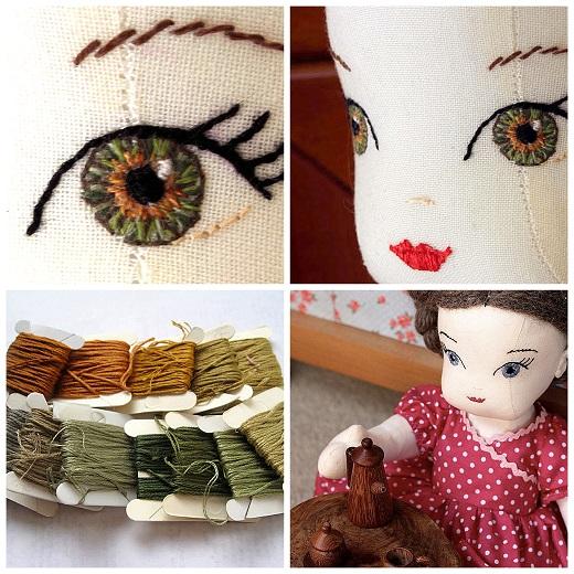 как вышить глаза у куклы