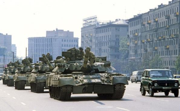 танки в Москве, август 1991