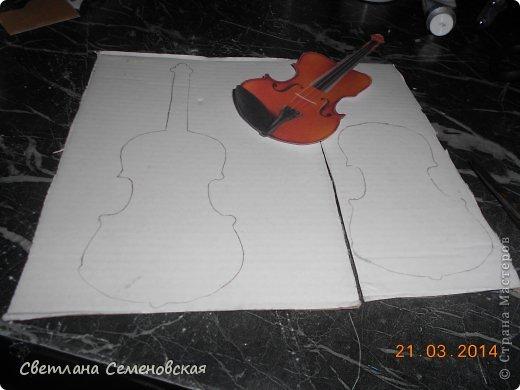 Мастер-класс Моделирование конструирование Скрипка Акварель Бумага Картон Клей фото 3