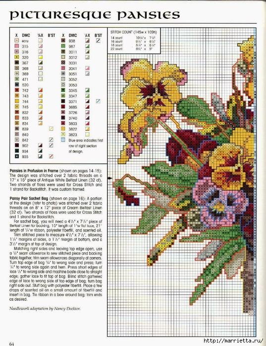 Схема вышивки панно. АНЮТИНЫ ГЛАЗКИ и бабочки (4) (537x700, 396Kb)