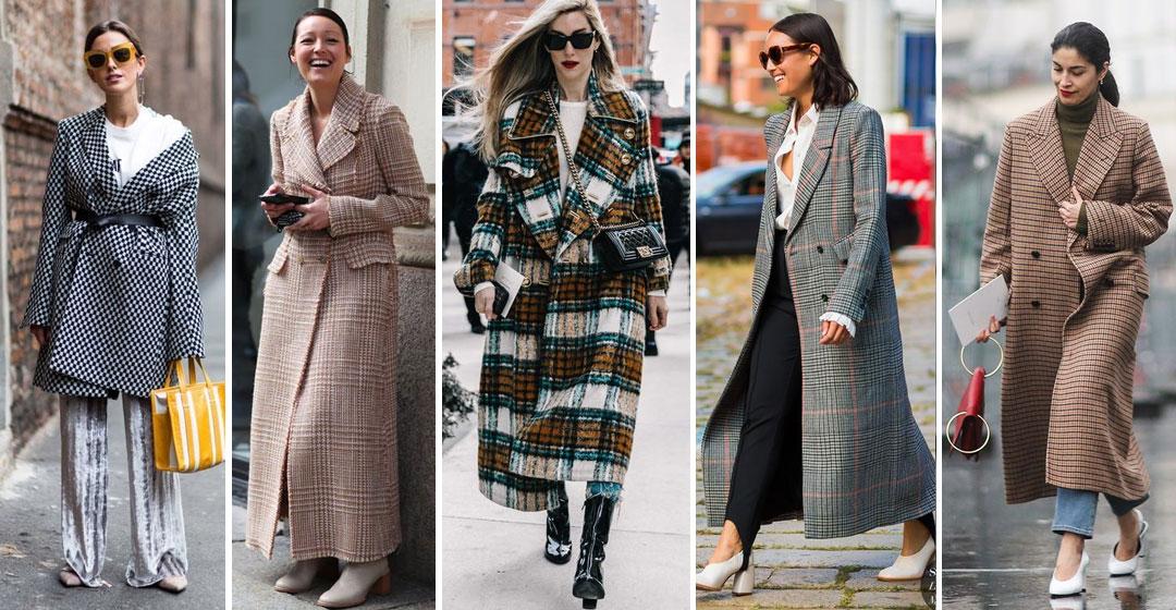 С чем носить пальто в клетку: 25 модных образов для зимы и весны 2018
