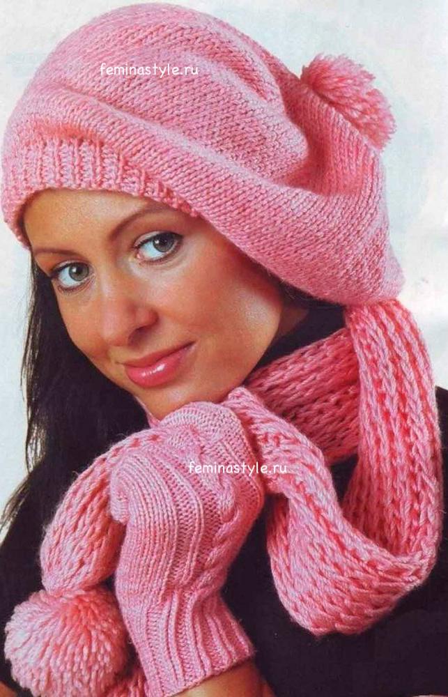 Шапка шарф и перчатки спицами