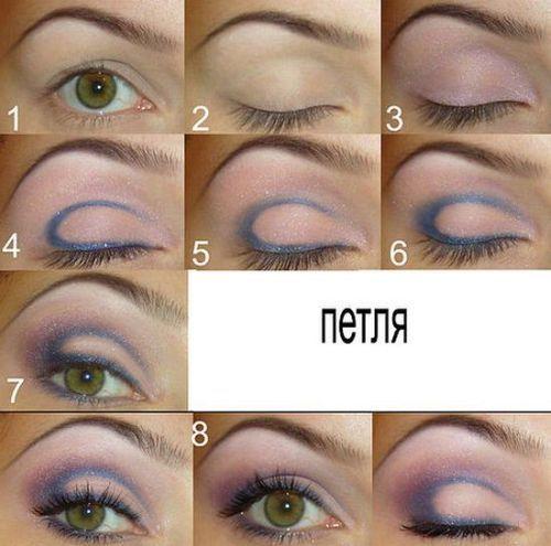 схема макияжа карих глаз