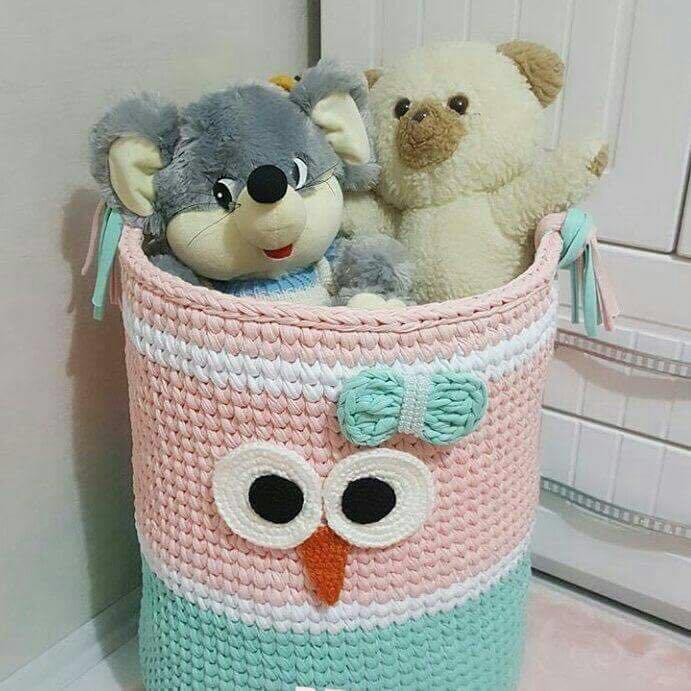Вяжем красивые корзины для интерьера из трикотажной пряжи