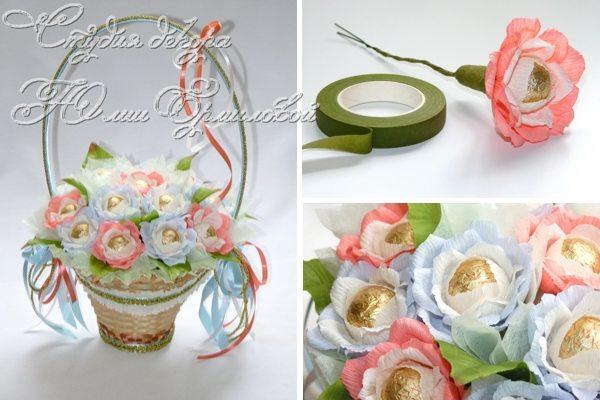 Цветы из конфет в корзине своими руками