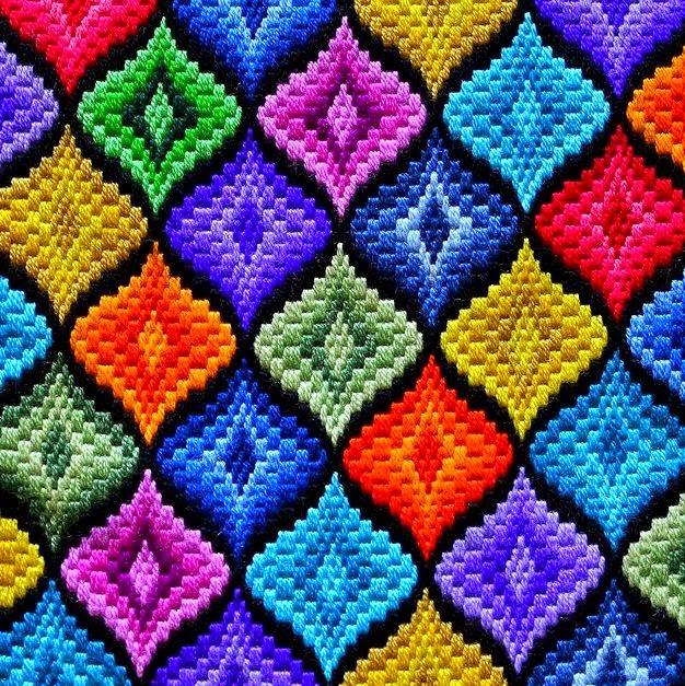 Флорентийская  вышивка барджелло - просто и эффектно! (техника исполнения и схемы)