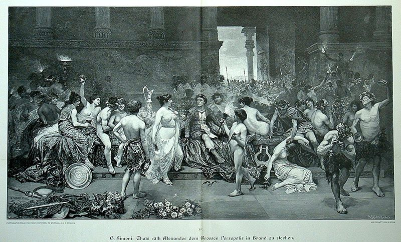 File:Thais calls upon Alexander the Great to put the palace of Persepolis to the torch by G. Simoni.jpg