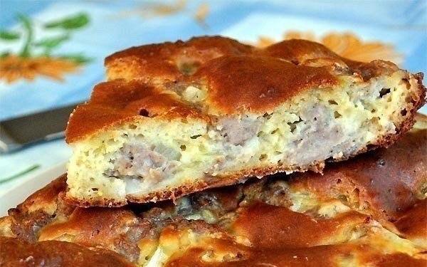 Быстрый наливной мясной пирог