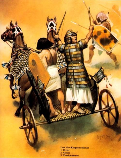 Колесница позднего Нового Царства: 1 - колесничий; 2 - лучник; 3 - пеший воин сопровождения.