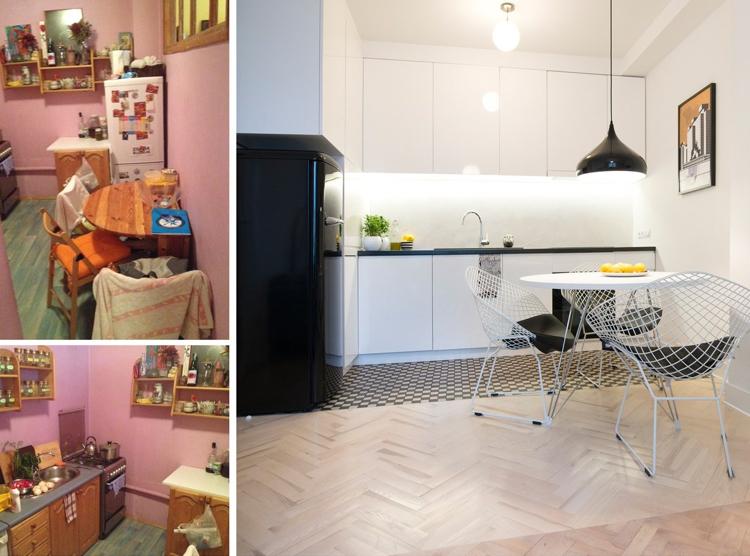 Фото белой кухни до и после ремонта современный столь