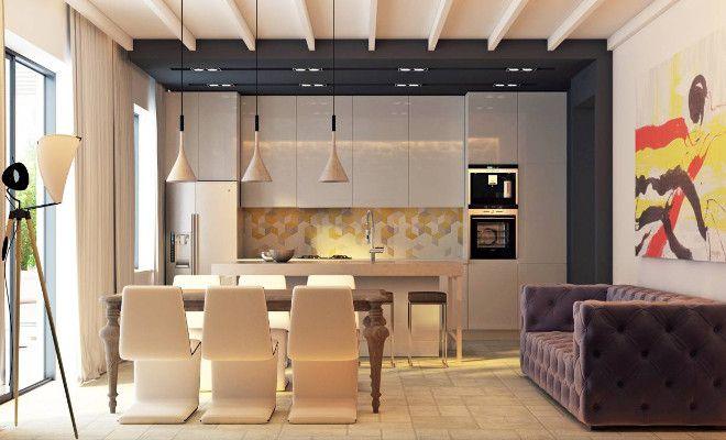 кухня гостиная в современном стиле