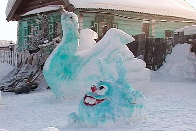 Как из снега сделать петуха