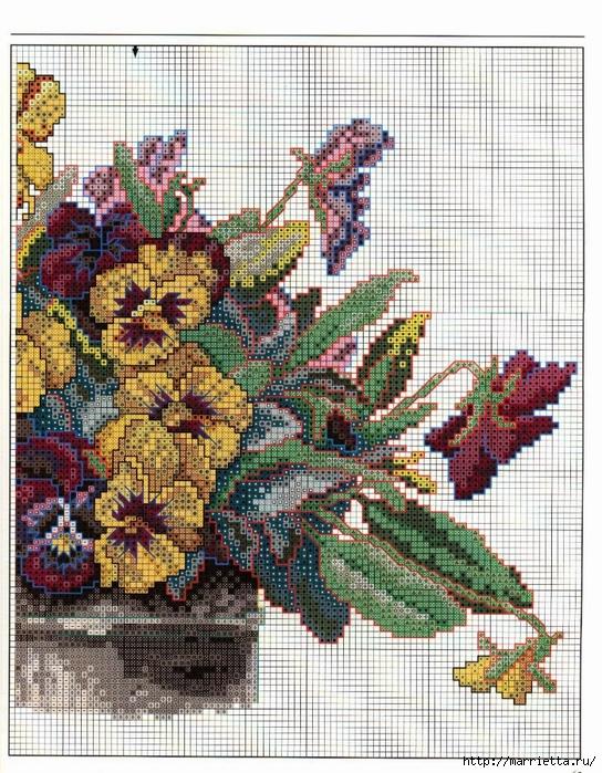 Схема вышивки панно. АНЮТИНЫ ГЛАЗКИ и бабочки (5) (544x700, 422Kb)
