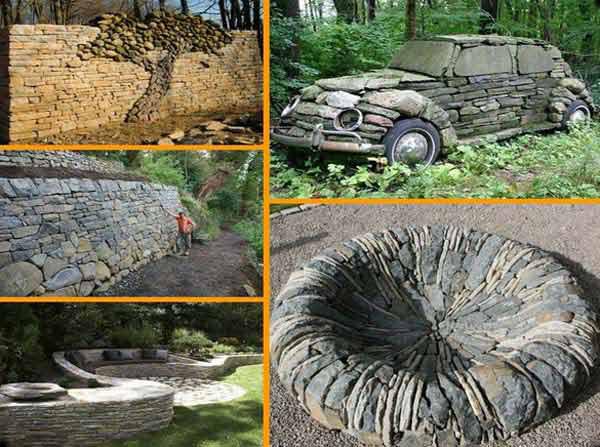 Декор из камня в саду своими руками