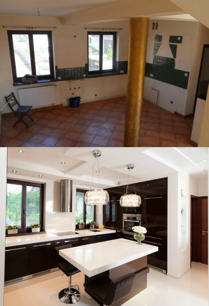 ремонт на кухне фото черно-белая кухня в современном стиле белая столешница