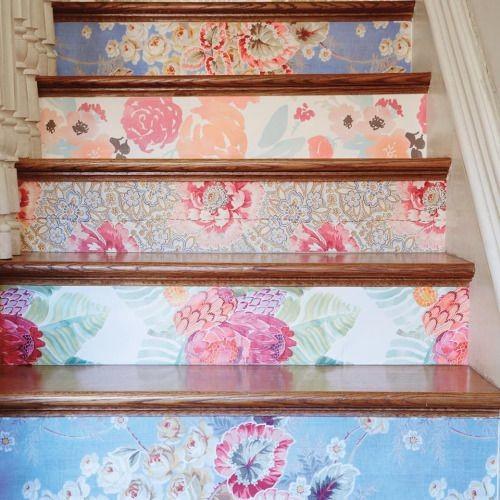 Оклеить подступенки лестницы. декор, куски, обои, остатки сладки