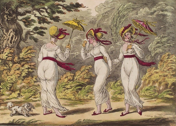 Три грации на сильном ветру. Карикатура Джеймса Гилрея. 1810 год