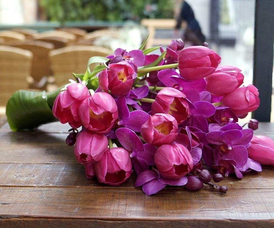 тюльпаны, орхидеи, бутоны, листья, лепестки, букет, цветы