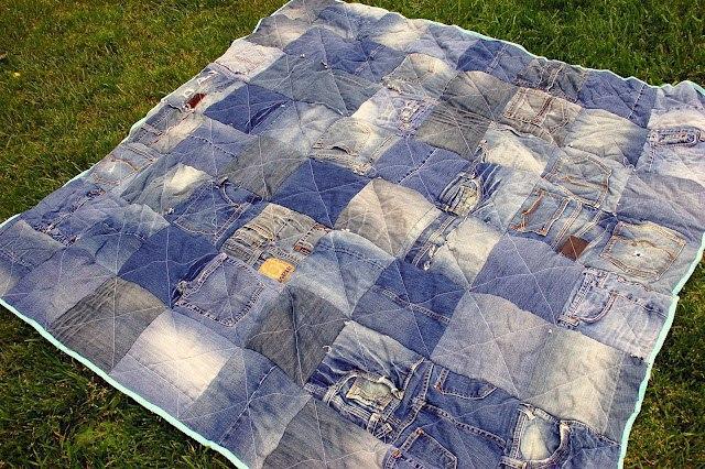 Джинсово-лоскутное одеяло для пикника. Мастер-класс