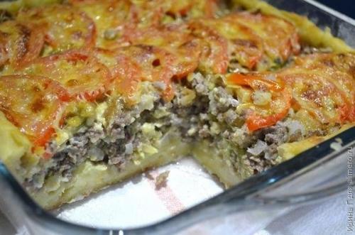 Открытый мясной пирог из кар…