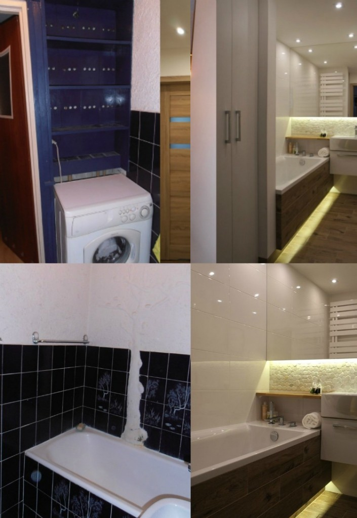 современный дизайн ванной комнаты фото до и после белый цвет дерево
