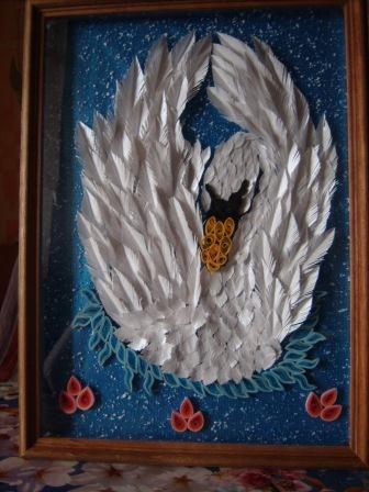 Белый лебедь (квиллинг
