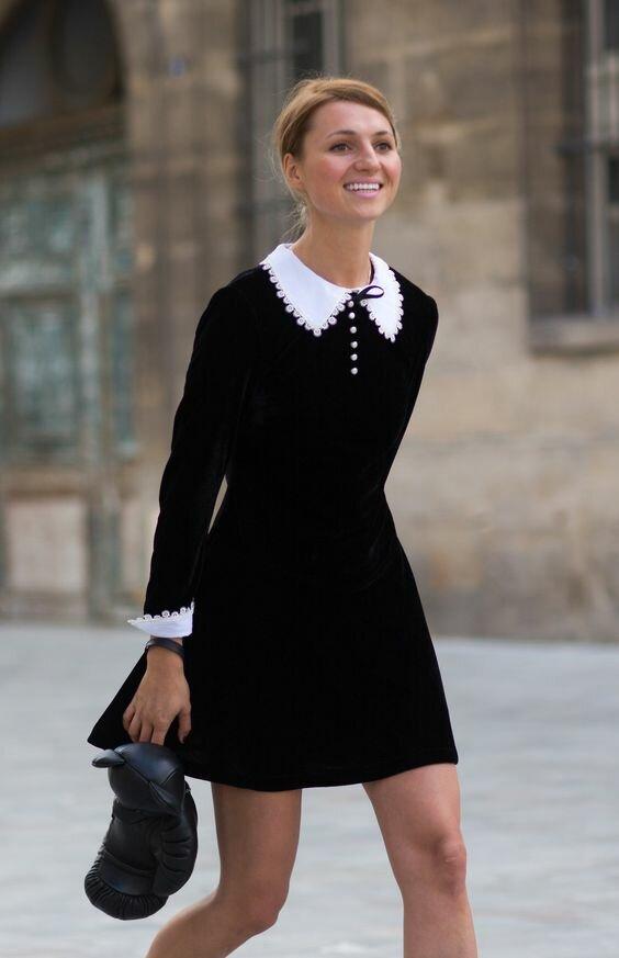 Женщина в платье с отложным воротником. /Фото: i.pinimg.com